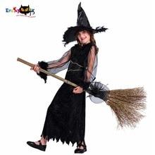 Дети Смешные костюмы Платье и шляпа Набор Перо Ведьма Черный Хэллоуин Платья Kid Party Cosplay 2017 Новое прибытие