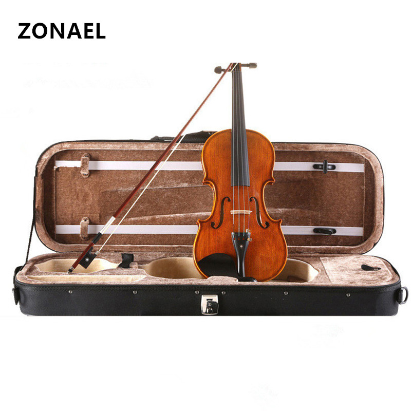 ZONAEL Beginner Violin Antique Maple Violin 4/4 Violino 3/4 1/2 1/8 1/10 Handmade Musical Instrument & case,bow dark wood V003 handmade brand new white great streamline model 4 4 electric violin violino solid wood string instrument rosin case bow included