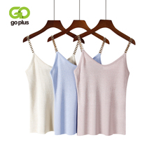 GOPLUS Spring Sleeveless V-Neck Sexy Knitted Tank Top Women Metal Strap Silver Thread Elastic Camis Female Vest Casual Camisole
