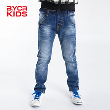 BYCR size 4-14 boys blue denim Winter jeans strench pull on straight fit elastic waist pants for little big kids No.71500092