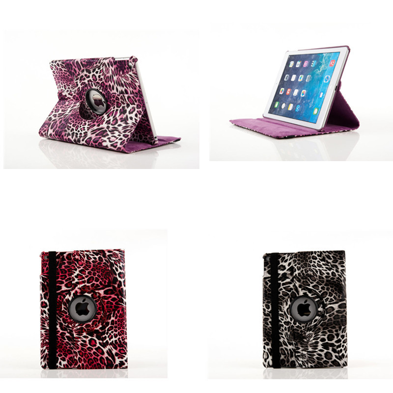 Luxury 360 Rotating PU  leather  Leopard Style Case For iPad Air 2 Cover for iPad 6 Stand Flip Case for ipad air2 ipad6 for apple ipad air 2 pu leather case luxury silk pattern stand smart cover