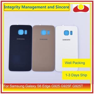 Image 3 - 50 Pcs/lot pour Samsung Galaxy S6 Edge G925 G925F G925T boîtier batterie porte arrière couvercle en verre châssis coque de remplacement