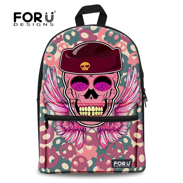 Cool Neon Punk Girls Backpack Pink Skull Backpack for Women Casual College Children School Backpack Tourism