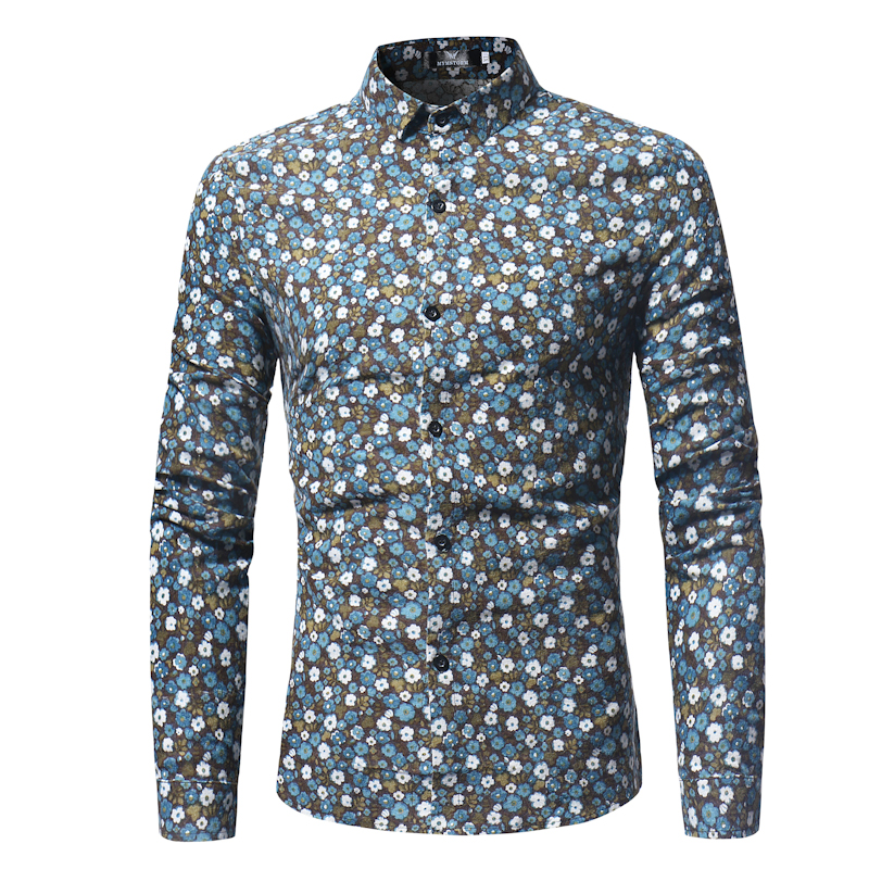 Small Flower Floral Shirt Men 2018 Brand New Slim Long Sleeve Dress Shirts Men Casual Business Work Shirt Male Chemise Homme 3XL
