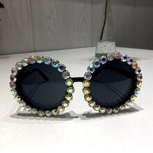 Women Sunglasses 2018 Round Vintage AB Rhinestone Sunglasses Luxury Shades Female Funky Sun glasses Oculos De Sol