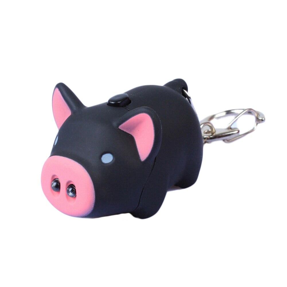 Cute Kawaii Cartoon Little Pig Design LED Keychain With Sound Flashlight Keyring Wholesale