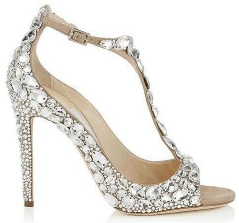 все цены на Luxury Diamond Wedding Jeweled Heel Gladiator Sandals Women Rhinestone Crystal Embellished T Strap Summer Party Sandals онлайн