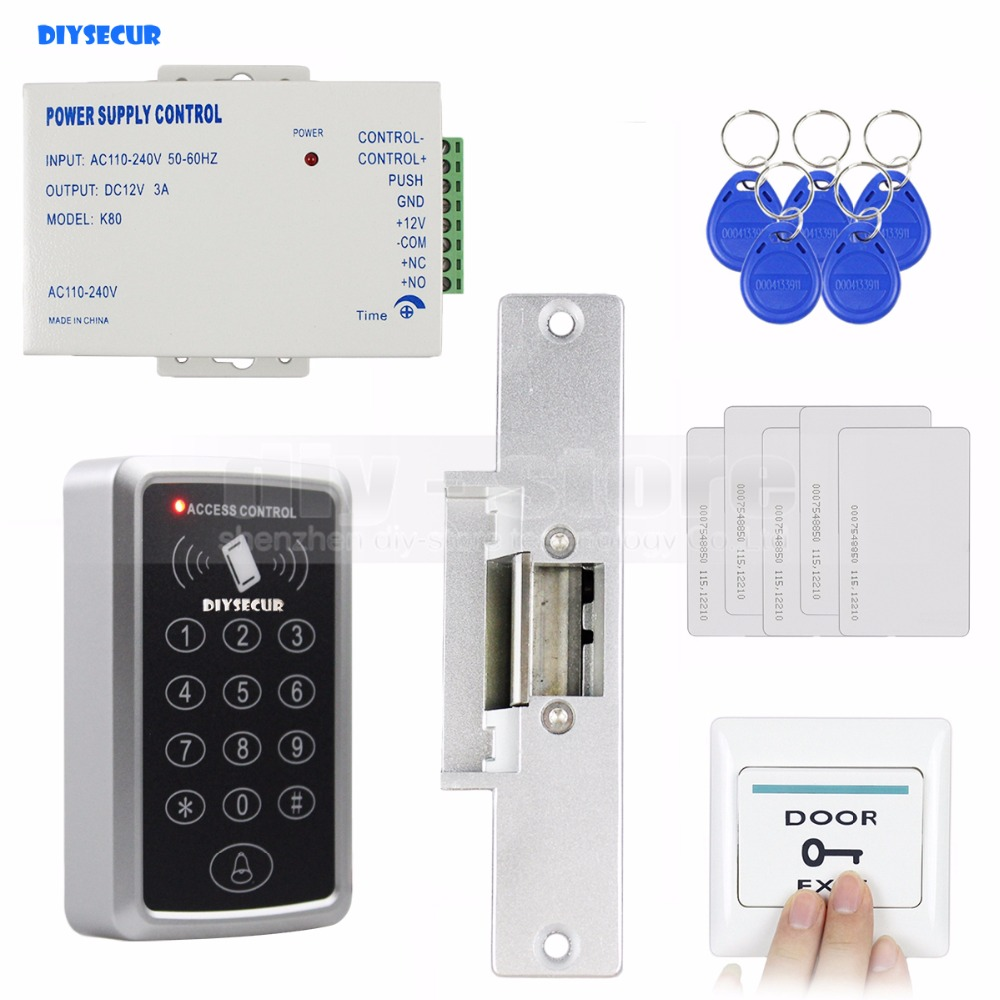DIYSECUR 125KHz RFID Reader Password Keypad Access Control System Full Kit Set + Electric Strike Door Lock + Power Supply diysecur 125khz rfid metal case keypad door access control security system kit electric strike lock power supply 7612