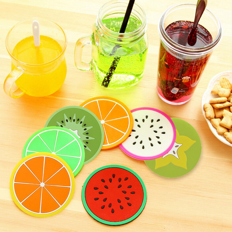 9cm Kitchen Bottle Mats&pads Colorful Cute Silicone Fruits Coaster Novelty Cup Holder Home Dining Room Decor Drink Placement