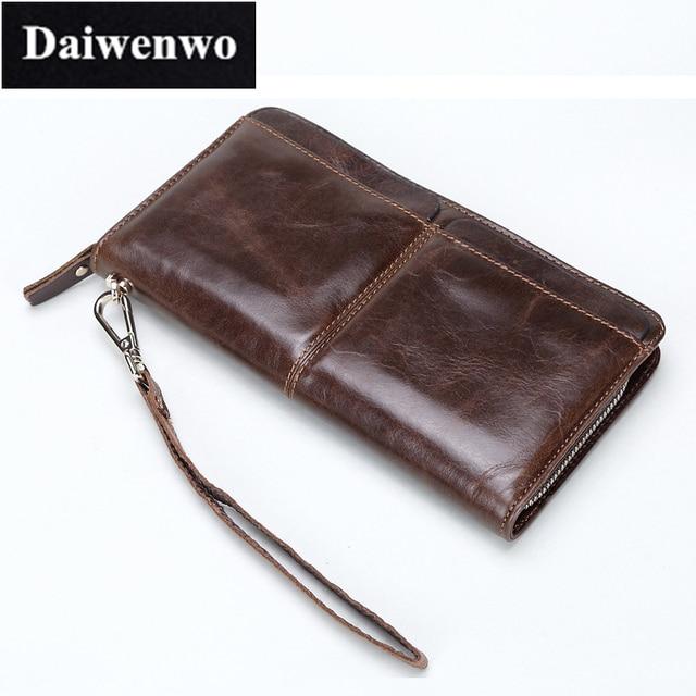 M13 Luxury Cowhide Leather Handbag Men Wallets Zipper Male Clutch Mens Genuine Leather Long Wallet Brown Purse Carteira Gift