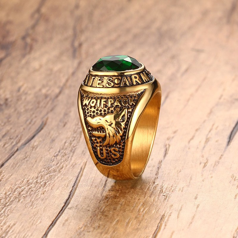 US $7 14 45% OFF|Mprainbow US Army Gold Overlay Mens Ring Simulated Emerald  Green Cubic Zirconia Men's Jewelry US Size 8 11-in Rings from Jewelry &