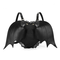 New Girls Backpack Lace Personality Stereo Love Black Angel Devil Bat Wings Backpack For Teenager Halloween Party School Bagpack