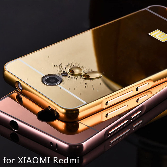 sale retailer af728 adbfa US $4.27 |Luxury Mirror Case for XIAOMI Redmi note 2 3 4 mi2 mi3 mi4 mi4s  mi5 Redmi 2 3 3s Metal PC Gold Electroplate Bumper Back Cover-in Fitted ...