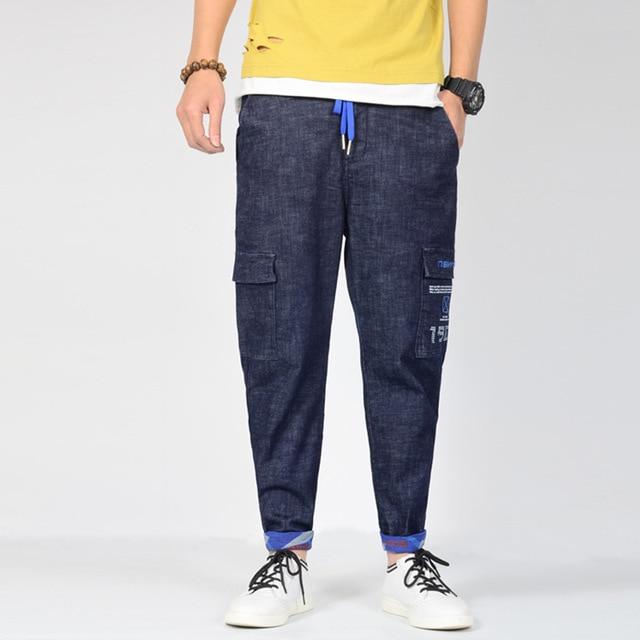 New Men's Pants Plus Size Stretch Cotton Jeans Men Hip Hop Baggy Jeans blue Harem Jeans Tapered Pants