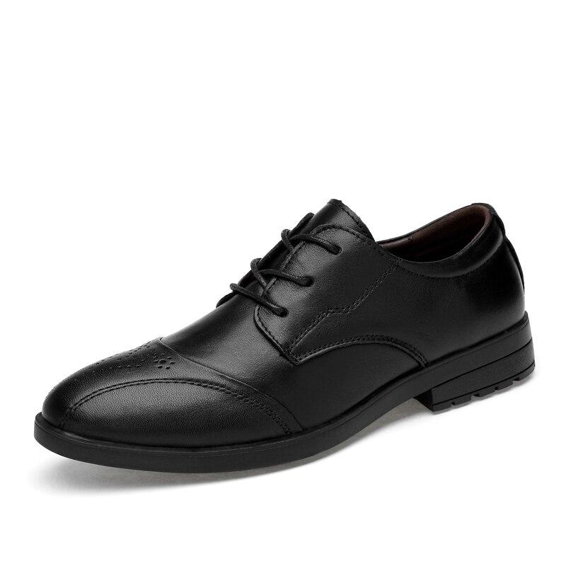Haute Chaussures Hommes Affaires Vache Souples De Qualité Brogue Casual Cuir Black En Amshca Mode Respirant Véritable Solide Noir PkOuXTZi