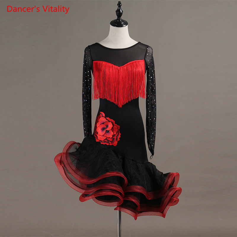 Custom Made Latin Dance Dress Competition Clothes Sexy Tassel Dresses Women Girls Latin Dance Long Sleeves Performance Costume