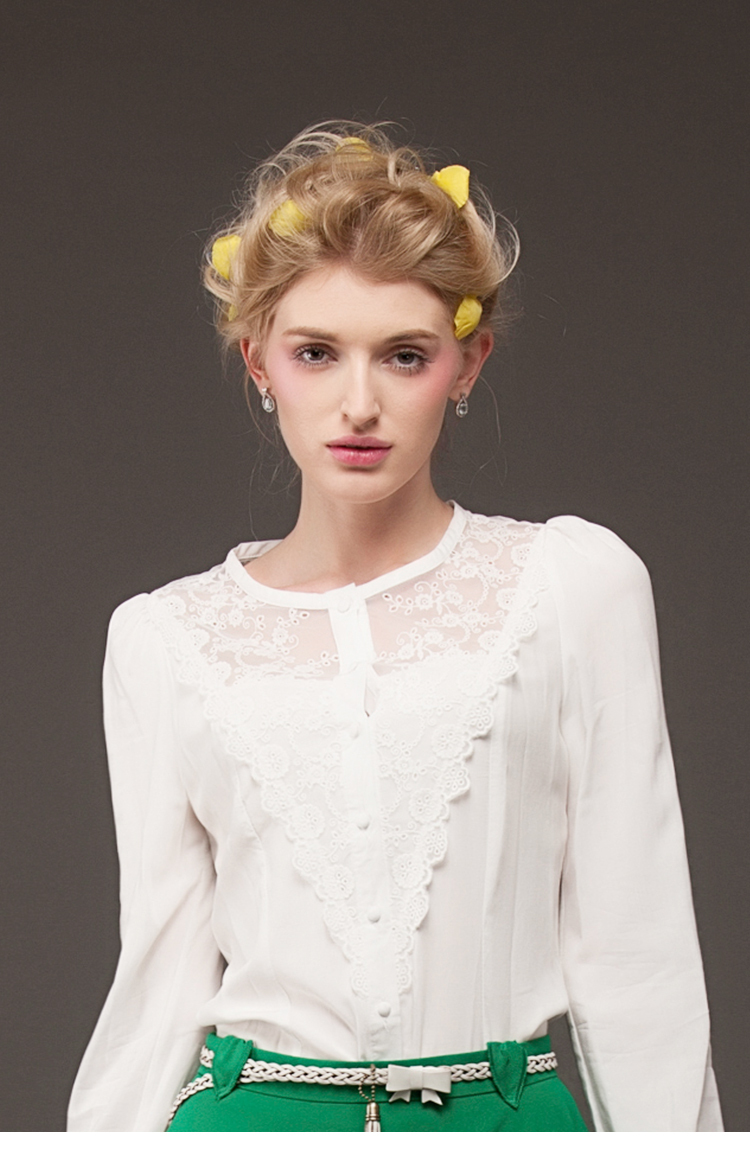 Free shipping ladies/women chiffon embroidery lace medieval vintage blouse