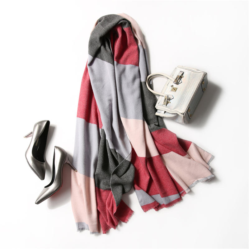 Fashion Women Winter Cashmere   Scarf   Wool Shawls And   Scarves   Oversized Blanket Luxury Brand Plaid Ladies Pashmina   Scarf     Wraps