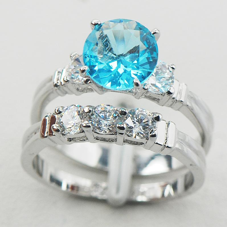 Simulated Aquamarine White Crystal Zircon Women 925 Sterling Silver Ring F833 Size 6 7 8 9 10