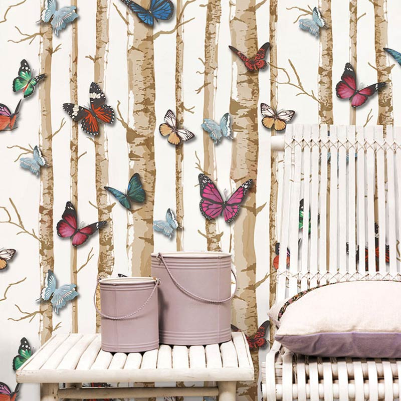 Superior Pastoral 3D PVC Embossed Printed Wall Paper Butterfly Tree Wood Wallpaper  Kids Room Sofa TV Background Living Room Wallpaper Art In Wallpapers From  Home ... Part 10