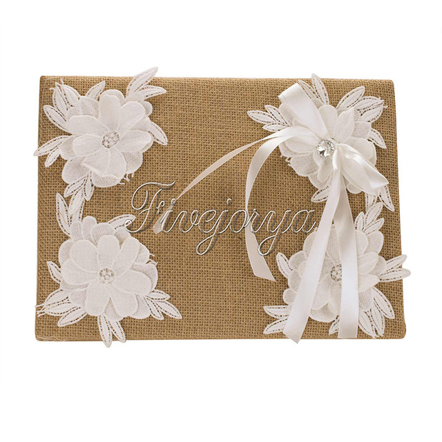 Burlap Fabric Wedding Guest Book With Lace Flowers Ribbon Bow For Banquet Party Reception Decor