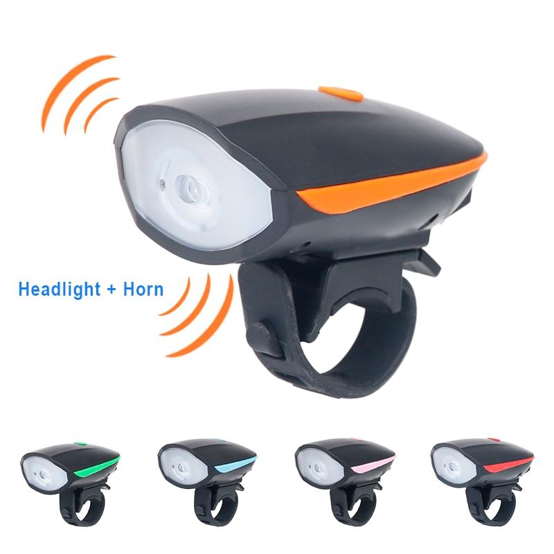 Bicycle Headlight + <font><b>Horn</b></font> USB Charge Bike Front Handlebar LED Lamp Lantern Electronic Bell Siren Alert Trumpet Audio Warning