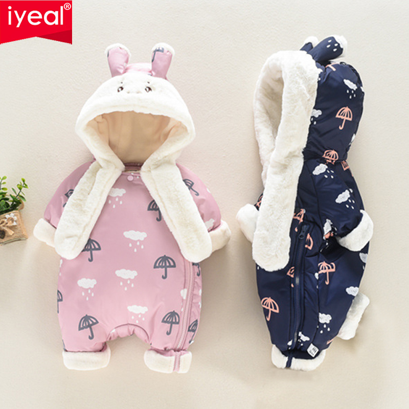 IYEAL New Winter Newborn Infant Baby Clothes Fleece Cartoon Printed Toddler Clothing Cute Hooded Romper Cotton-padded Overalls