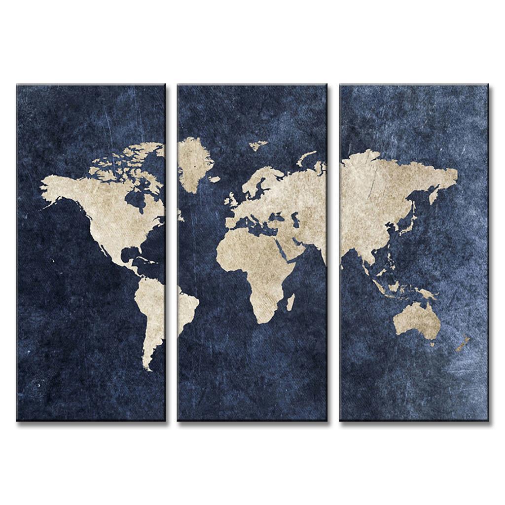 3 Pcs/Set Abstract Navy Blue World Map Canvas Print Painting Modern ...