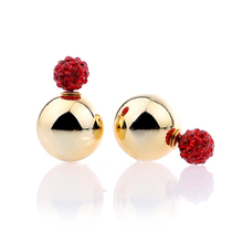 2016 Hot Fashion Silver Earring Stud Jewelry Best Glass Ear For women High Quality Gold Post Party Wholesale
