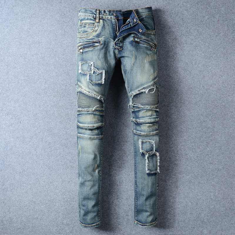 New Fashion Mens Patchwork Straight Trousers Men Distressed Ripped Jeans Brand Scratched Biker Jeans Denim Slim Fit Casual Pants 2017 fashion patch jeans men slim straight denim jeans ripped trousers new famous brand biker jeans logo mens zipper jeans 604