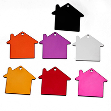 Wholesale 100pcs Blank DIY House Shape Pet ID Tag Dog Cat Name Card Key Tags with Chains Ring  Free Shipping