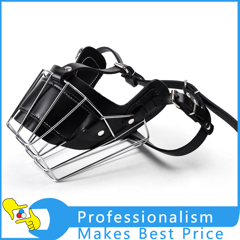 1pc Dog Muzzle Metal Wire Basket Leather Anti-bite Masks Mouth Cover Bark Chew Muzzle Pet Breathable Safety Mask pet factory inc 72058 usa banded braid dog chew medium 7 8 inch