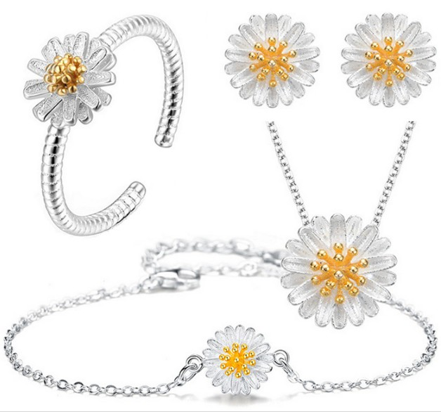 New arrival silver plated Daisy jewelry sets <font><b>Necklace</b></font>/<font><b>Earrings</b></font>/<font><b>Ring</b></font>/<font><b>Bracelet</b></font> wedding jewelry sets for women drop shipping image