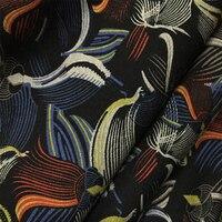LEO & LIN Elastico Cotone Vintage Lavorato A Maglia Alta Elastico Stampa Fiori di Cotone Pannello Esterno Del Vestito di Colore Tessuto Vintage