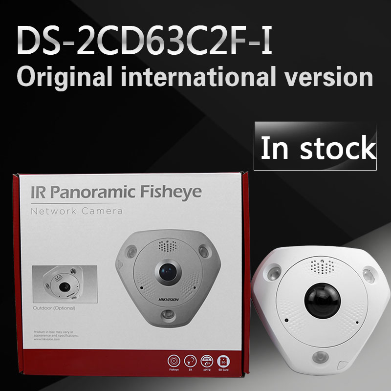In stock fast free shipping English Version 12MP Fisheye Network Camera , 360 view angle ,DS-2CD63C2F-I Multiple viewing modes in stock international english version ds 2cd2942f is english version 4mp compact fisheye network cctv camera fisheye