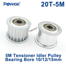 POWGE 20 Teeth 5M Idler Pulley Tensioner Wheel Bore 10/12/15mm with Bearing Guide synchronous pulley HTD5M 20T 20teeth