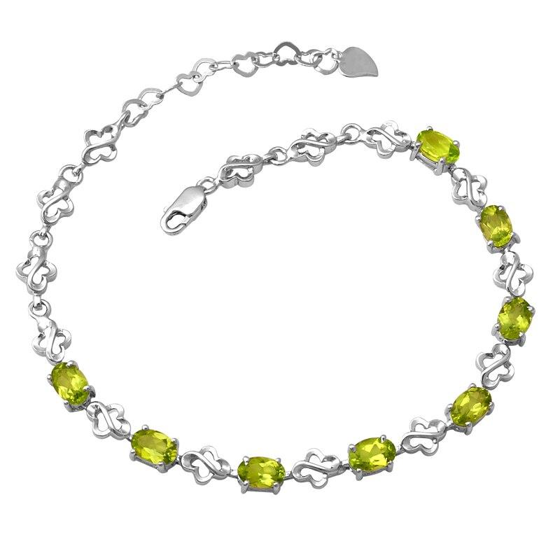 Péridot naturel Bracelet 925 en argent Sterling femme Fine gemme verte bijoux papillon fille pierre de naissance saint-valentin cadeau sb0019p