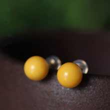Gold Natural Beeswax Ball Shaped Minimalist Stud Earrings
