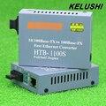 KELUSHI HT-1100S Transceptor de Fibra Única Fibra Conversor de Mídia de Fibra Óptica Conversor 25 km SC 10/100 M Monomodo Único fibra