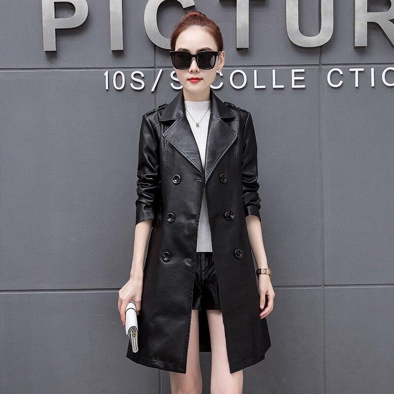 Grande taille M-5XL veste en Faux cuir femmes automne et hiver longue veste en cuir dames manteau noir