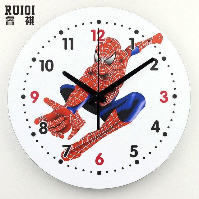 1b03b9da9c20 Hombre araña de la historieta bastante reloj de pared segura niños clocks  para los niños sala