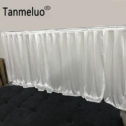 e3c143c64 0.8x3 M Duplo vezes plissados brilhante saias brancas de mesa para o  casamento evento banquete