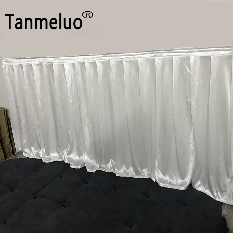 0.8x3M Double Times Pleats Shiny White Table Skirts For Wedding Table Decoration Table Skirting Event Banquet Decor