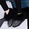 Estação europeu de avestruz cabelo banda broca de alta para ajudar botas de neve plana botas de neve de inverno espessamento sapatos de algodão morno mulheres lã lã b