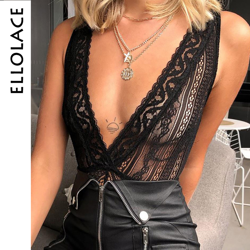Ellolace Deep-V Lace Bodysuit Backless Body For Women Sexy Jumpsuit Transparent Female Bodycon Ladieds Summer Overslls Rompers