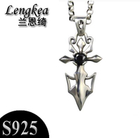 Free Shipping 925 Sterling Silver Vintage Sword Pendant Male Fashion Necklace Boys Cool Accessories Boyfriend Gift