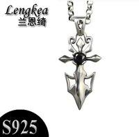 Men choker 925 sterling silver vintage sword pendant male fashion necklace boys cool accessories boyfriend gift