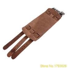 Punk New 2 Layer Belt Men Genuine Cow Leather Rock Bracelet 3 Buckle Wristband Cuff Bangle 4TSL