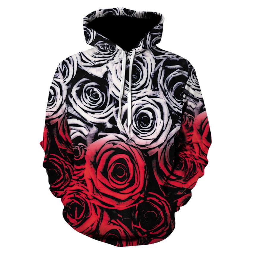 2018 Толстовка для мужчин и женщин Прохладный Творческий 3D принт красные розы Sexy love мода горячий стиль уличная одежда Оптовая хлопка с длинным рукав