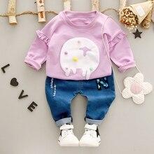 Baby's Clothing Sets Kids 2Pcs Suits Denim Letter Jeans Trousers + Cartoon Elephant Sweatshirt Hoodies Girls Clothes